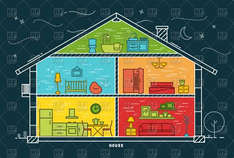 Cartoon House Blueprint, Rooms With Furniture Vector Image