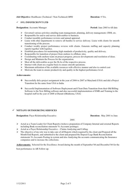 bpo resume for fresher bpo resume resume template bpo