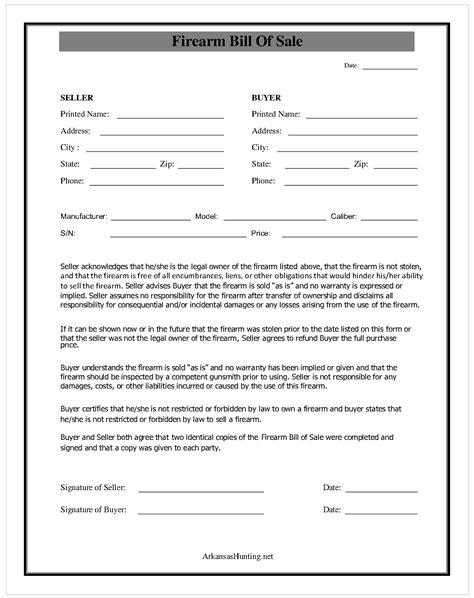 what is a bill of sale form bill firearm bill of sale form