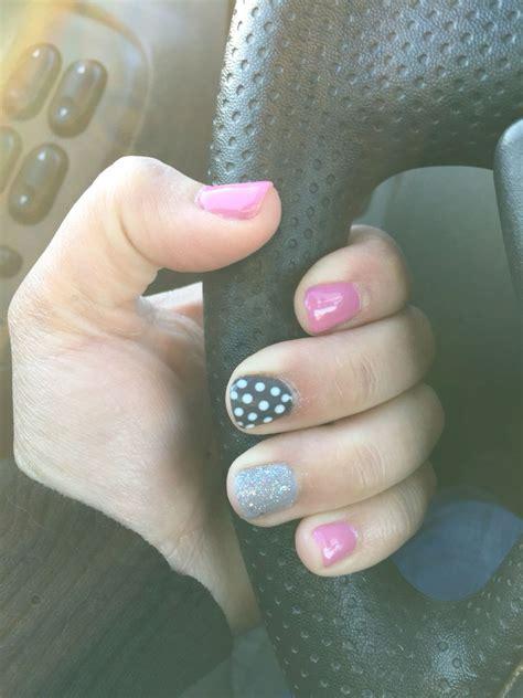 gray pin dot my anywhere pink grey polka dot gel nails my gel nail creations