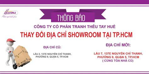 ThÔng BÁo Thay ĐỔi ĐỊa ChỈ Showroom TẠi Tp HỒ ChÍ Minh