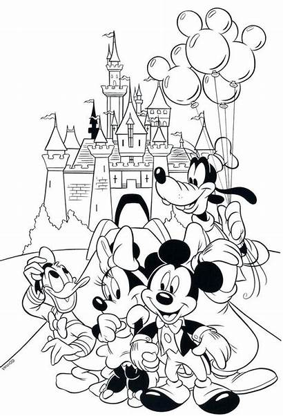 Coloring Disney Disneyland Pages Printable Mickey Mouse