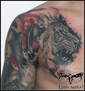 Back Shoulder Lion Tattoo
