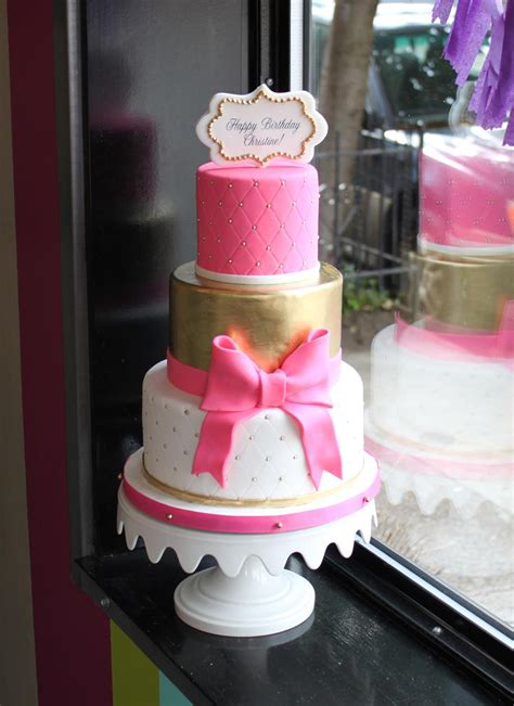 pink and gold birthday cake bakeshop