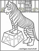 Circus Coloring Pages Tiger Printable Lion Animals Carnival Tent Print Getcoloringpages Popular sketch template