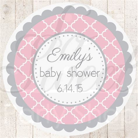 Personalized Stickers For Baby Shower - baby shower favor sticker labels pink and gray baby shower