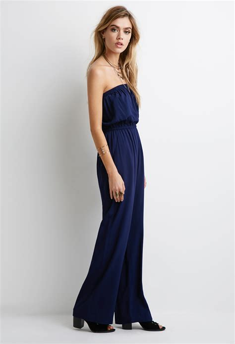 jumpsuit forever 21 forever 21 strapless jumpsuit in blue lyst