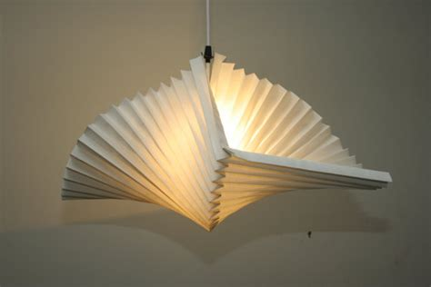 pendant light with pleated paper shade