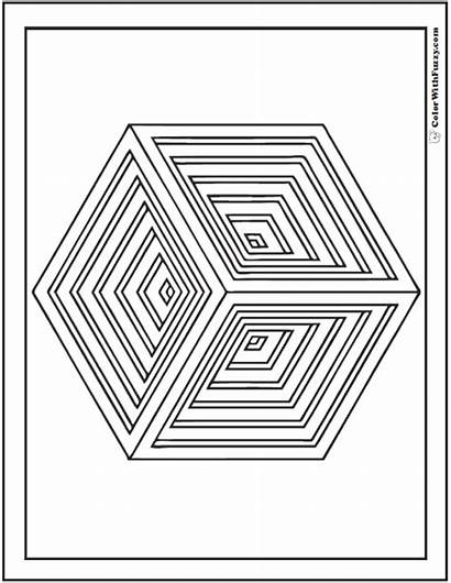 Coloring Pages Cube Shape Geometry Sheet Indented