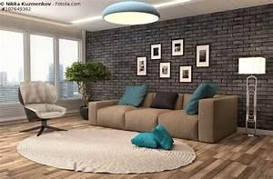 sofa in braun wohnzimmer mit erdfarben einrichten With balkon teppich mit wohnzimmer tapete steinoptik