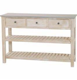 console bois exotique blanchi plateau zinc 3 tiroirs 2 With meuble cuisine maison du monde 3 console meubles et decoration tunisie