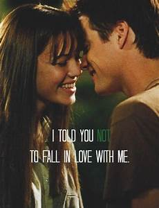 I told you not to fall in love with me | Picture Quotes