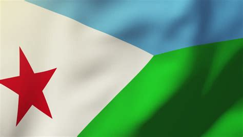 Djibouti Flag Waving In Wind With Clouds In Background