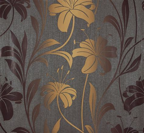 Tapete Gold Grau by Da Marburg Tapeten Vliestapete 55120 Floral Blumen