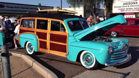 ford woody station wagon   bamboo roof rack