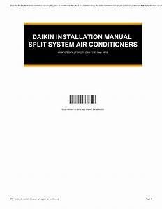 Daikin Installation Manual Split System Air Conditioners
