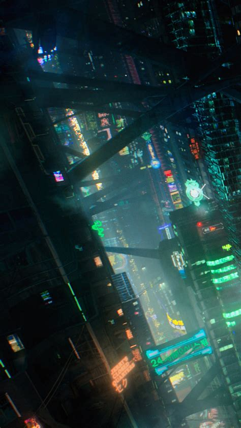 wallpaper futuristic cyberpunk future world  art