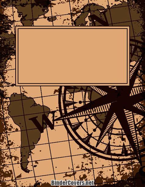 printable vintage map binder cover