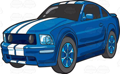 A Cool Blue Sports Car  Clipart By Vector Toons