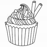 Cupcake Coloring Muffin Pages Cupcakes Drawing Cute Coloriage Blueberry Banana Split Cup Template Cake Drawings Ice Goods Baked Printable Cream sketch template