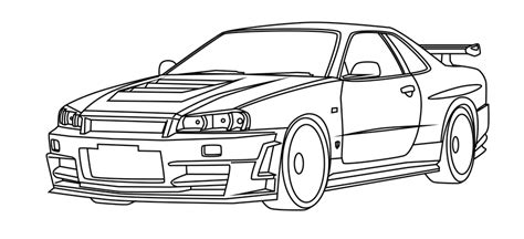 Nissan Skyline Gtr R34 Outline Drawing Sketch Coloring Page