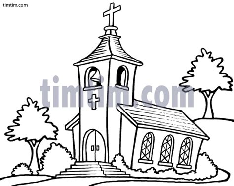 drawing   country church bw   category