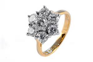cluster engagement rings 18ct gold 2ct 7 cluster ring