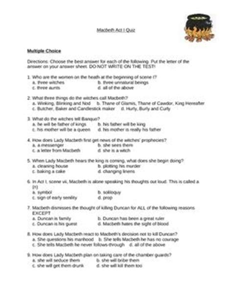 macbeth act 1 quiz shakespeare w answer key student