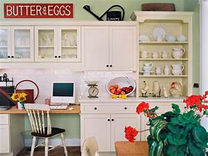 10 ideas for decorating above kitchen cabinets hgtv With kitchen colors with white cabinets with wicker basket wall art