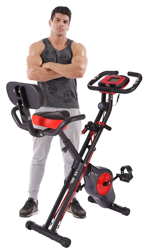 PLENY Upright Stationary Exercise Bike with Arm Exercise ...