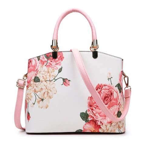 metal detail flower printed handbag  pink twinkledealscom