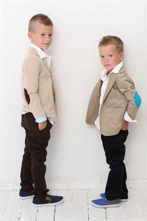 Boys blazer Boys Wedding outfit Baptism Ring bearer suit Tan Sweatshirt jacket with elbow ...