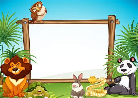 border templae  wild animals  background