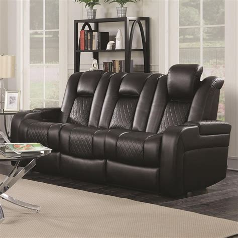 delangelo theater power leather reclining sofa  cup