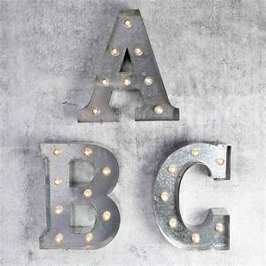 Industrial metal letter with led lights by lisa angel for Metal letters with lights