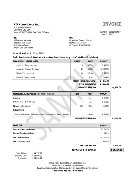 construction invoice forms   ms word excel