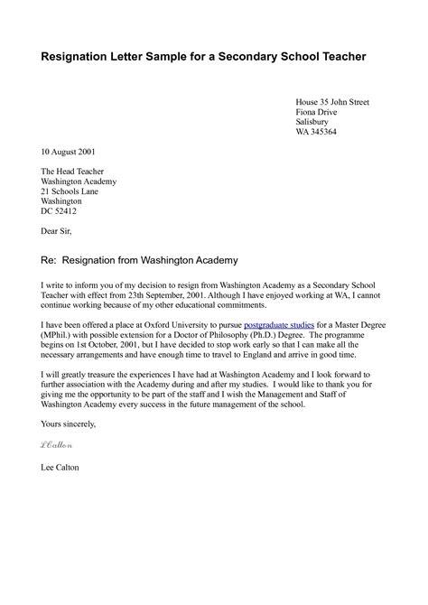 Teacher Resignation Letter Sample