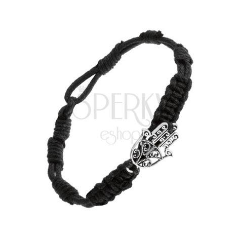Geflochtenes schwarzes Armband mit Stahlanhänger, Edelrost