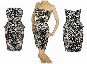 robe mini taille volant peplum leopard beige fete bal With robe cocktail beige