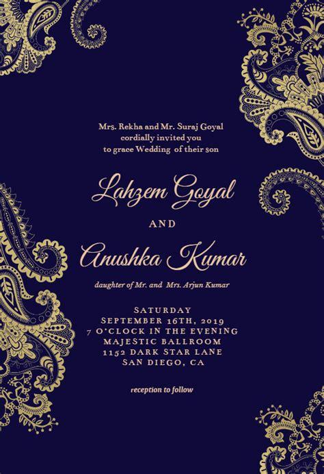 elegant henna wedding invitation template