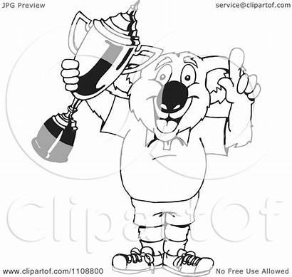 Winner Trophy Koala Holding Clipart Royalty Outlined