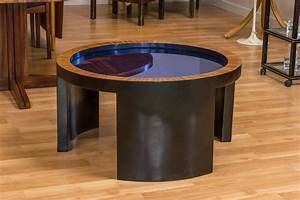 round coffee table with cobalt blue glass top attributed With blue glass top coffee table