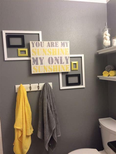 yellow gray bathroom ideas images  pinterest