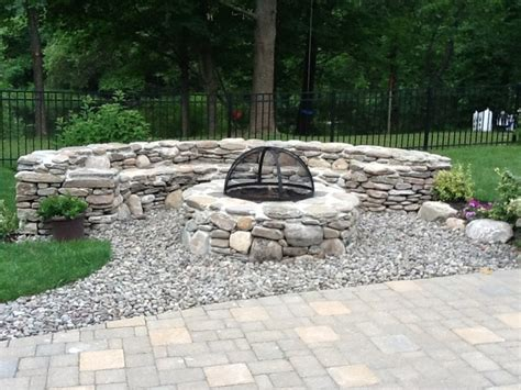 rock pits designs natural stone fire pit traditional landscape boston by ryan miller