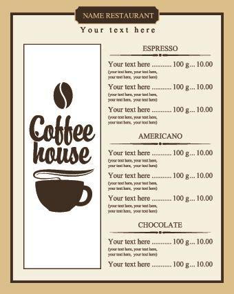 Coffee Price List Menu Vector  Vector Cover Free Download