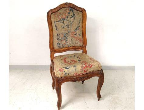 chaise dossier haut chaise à châssis louis xv noyer sculpté tapisserie fleurs
