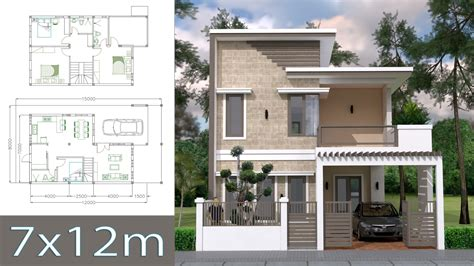 Home Design Plan 7x12m with 4 Bedrooms Plot 8x15 Sam