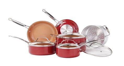 red copper pc ceramic cookware set deal flash deal finder