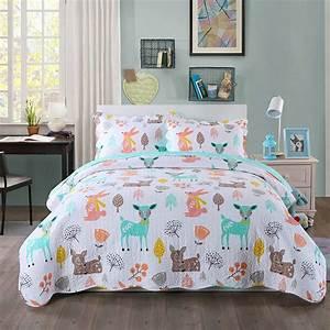 100, Cotton, 3, Piece, Kids, Quilt, Bedspread, Comforter, Set
