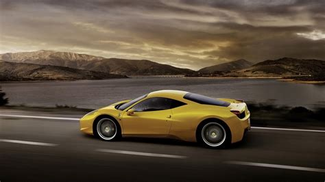 Hd Hintergrundbilder Ferrari 458 Italia Supercar Gelb